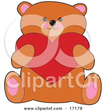 Sweet Brown Teddy Bear Holding A Red Heart On Valentines Day Clipart Illustration by Maria Bell