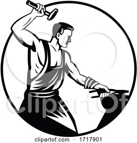 Blacksmith Foundry Worker with Hammer Striking Anvil Retro Black and White by patrimonio