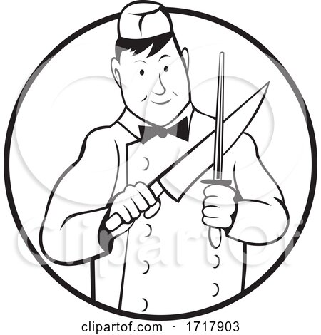 Butcher Sharpening Knife Front View Circle Cartoon Black and White by patrimonio