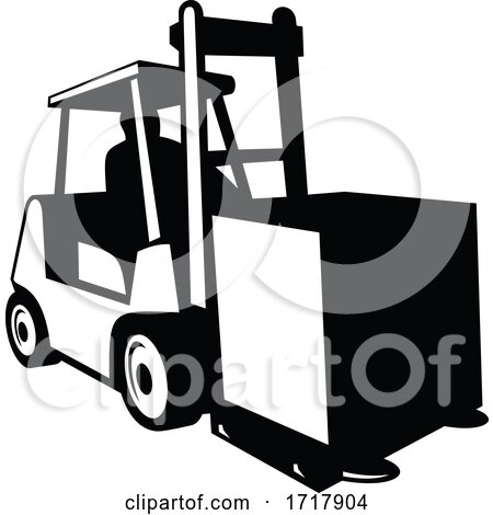 Forklift Truck in Operation Viewed from Front Retro Black and White by patrimonio