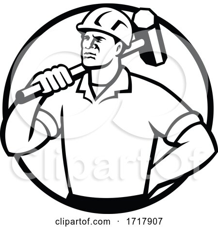 Demolition Worker with Sledgehammer Circle Retro Black and White by patrimonio