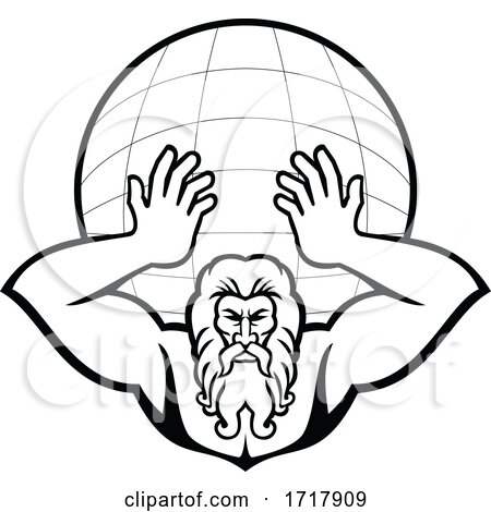 Atlas Holding up World Front View Mascot Black and White by patrimonio