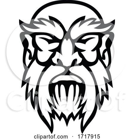 Head of Cronus Greek God Front View Mascot Black and White by patrimonio