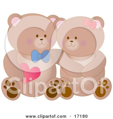 Boy Teddy Bear Holding A Heart And Resting His Arm Around His Girlfriend's Shoulder As They Cuddle On Valentine's Day Clipart Illustration by Maria Bell