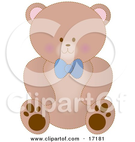 Cute Brown Teddy Bear Wearing a Blue Bow Clipart Illustration by Maria Bell