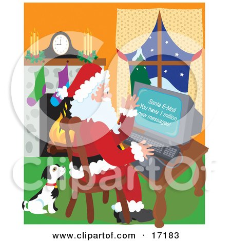 Cute Black And White Puppy Seated Beside Santa Claus As He Checks His Email Clipart Illustration by Maria Bell