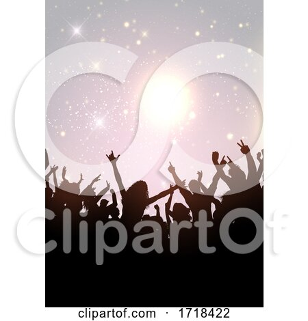 Party Crowd on a Silver Glittery Background by KJ Pargeter