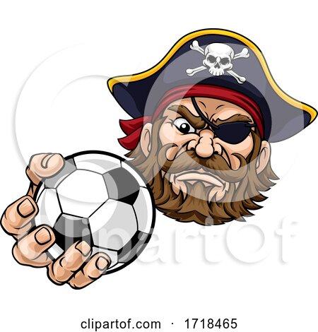 Pirate Soccer Football Ball Sports Mascot Cartoon by AtStockIllustration
