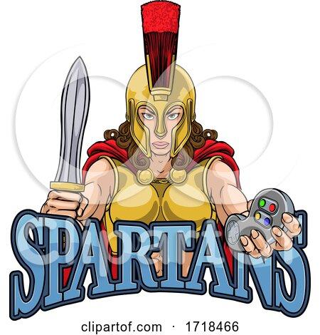 Spartan Trojan Gladiator Gamer Warrior Woman by AtStockIllustration