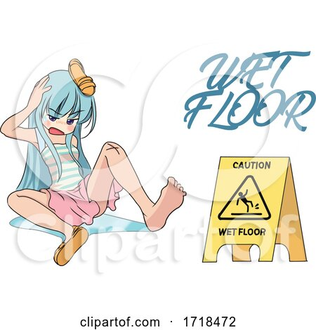 Manga Girl After Slipping on a Wet Floor by mayawizard101