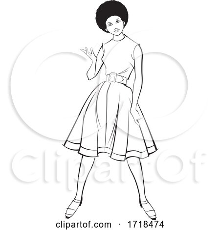 Black and White Lady Presenting in a Fashionable Dress by Lal Perera