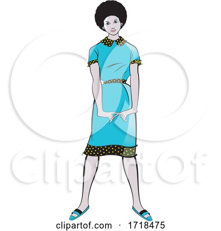 Beautiful Black Lady in a Fashionable Blue Dress by Lal Perera