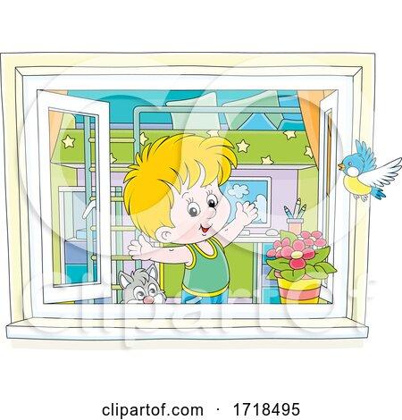 Boy Stretching in a Window by Alex Bannykh