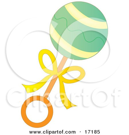Green, Yellow and Orange Baby Rattle Toy Clipart Illustration by Maria Bell