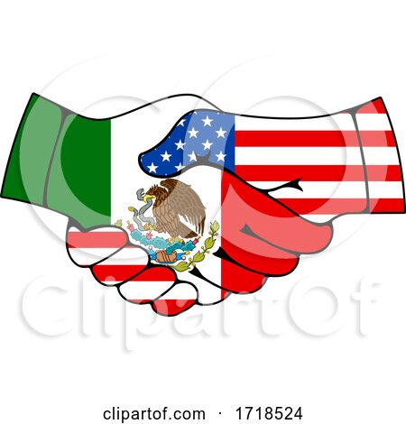 Shaking American and Mexican Flag Hands Posters, Art Prints