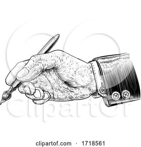 Hand in Business Suit Holding Artists Paintbrush Posters, Art Prints
