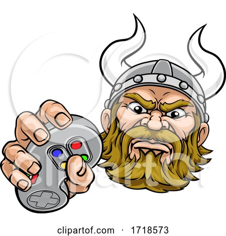 Viking Gamer Video Game Controller Mascot Cartoon by AtStockIllustration