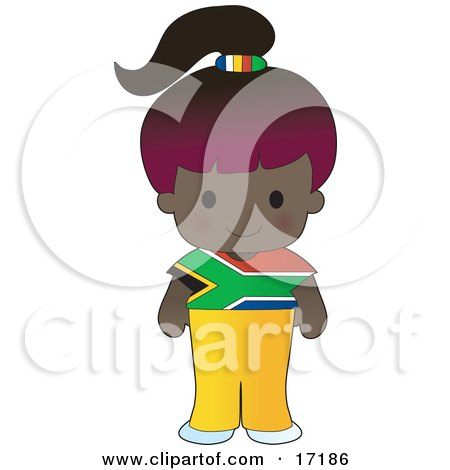 Cute African Girl Wearing A Flag Of South Africa Shirt Clipart Illustration by Maria Bell