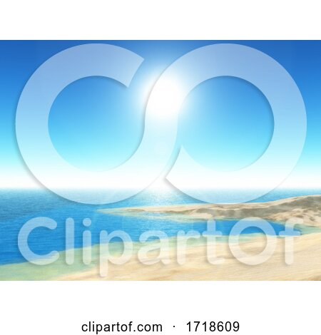 3D Tropical Beach Scene with Clear Blue Sky by KJ Pargeter