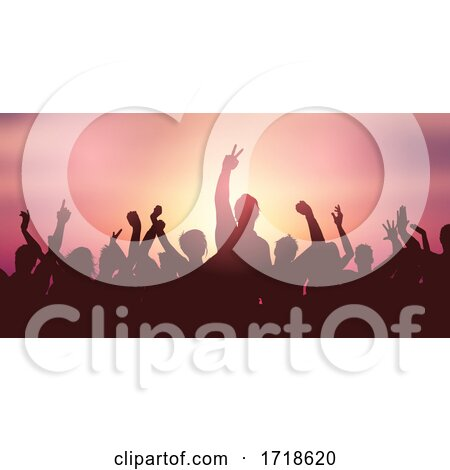 Party Crowd Banner Against Sunset Sky by KJ Pargeter