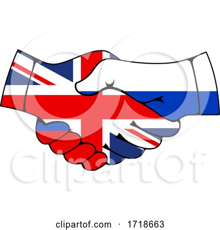 Shaking Great Britain and Russian Flag Hands Posters, Art Prints