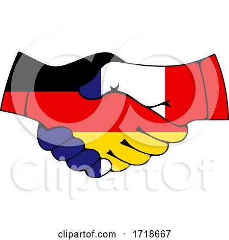 Shaking German and French Flag Hands Posters, Art Prints