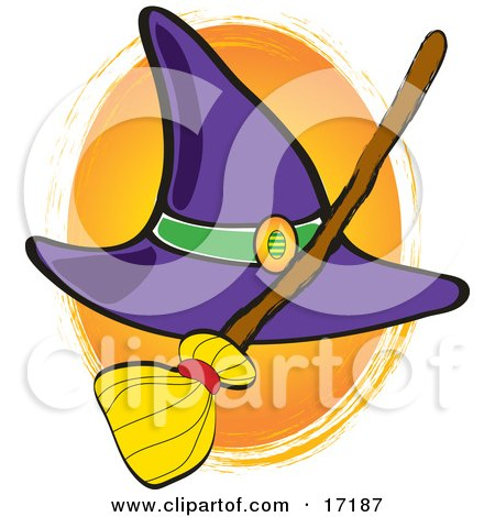 Purple Witches Hat With A Straw Broom On Halloween Clipart Illustration by Maria Bell