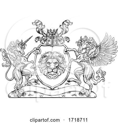 Coat of Arms Pegasus Unicorn Crest Lion Shield by AtStockIllustration