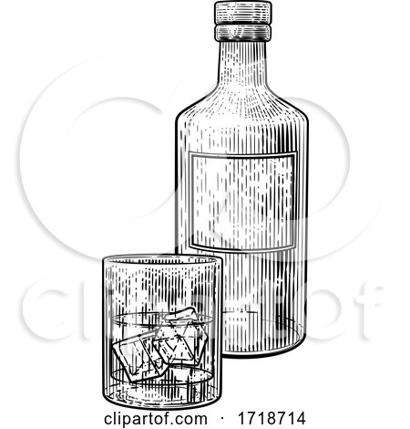 Drink with Ice Bottle and Glass Vintage Drawing by AtStockIllustration