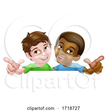 Boys Pointing Cartoon Children Kids Sign Posters, Art Prints