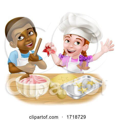 Girl and Boy Cartoon Child Chef Cook Kids Posters, Art Prints