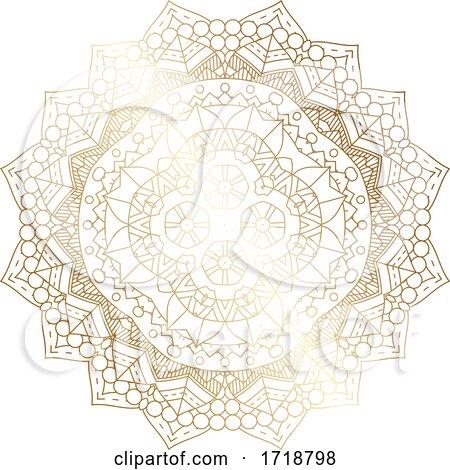 Gradient Golden Mandala by KJ Pargeter