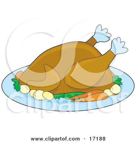 Cooked Turkey Bird Served With Carrots And Potatoes On A Tray On Thanksgiving Or Christmas  Posters, Art Prints