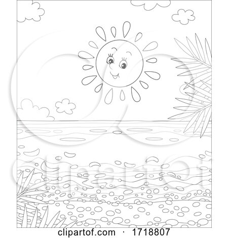Black and White Cheerful Sun over a Beach by Alex Bannykh