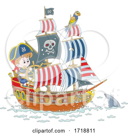 Pirate Kid Steering a Ship and Shark by Alex Bannykh