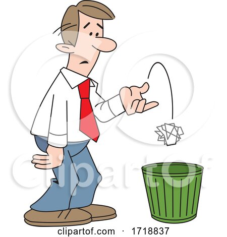Cartoon Business Man Tossing Crumpled Paper in the Trash by Johnny Sajem