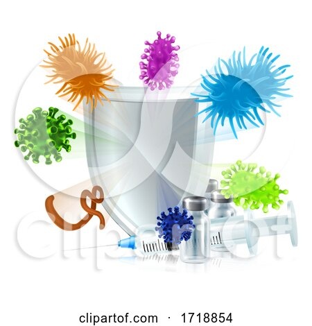 Injection Vaccine Medicine Medical Syringe Shield by AtStockIllustration