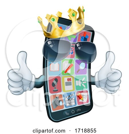 Mobile Phone Cool King Thumbs up Cartoon Mascot by AtStockIllustration