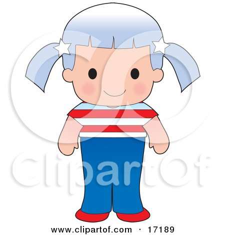 Cute American Girl Wearing A Flag Of The United States Shirt Clipart Illustration by Maria Bell