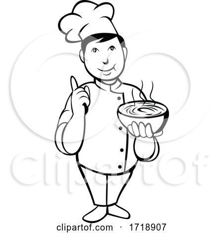 Cartoon Asian Chef or Cook Serving Bowl of Hot Soup with Number One Hand Sign Black and White by patrimonio