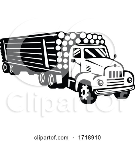 Vintage Logging Truck Log Truck Log Hauler or Timber Lorry Woodcut Black and White by patrimonio