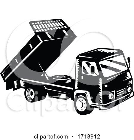 Dump Truck Dumper Truck or Tipper Truck Retro Woodcut Black and White by patrimonio