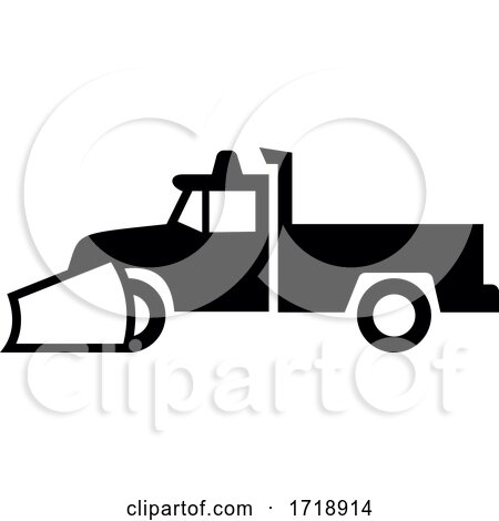 Snow Plow Pick Up Truck Icon Sign Black and White by patrimonio