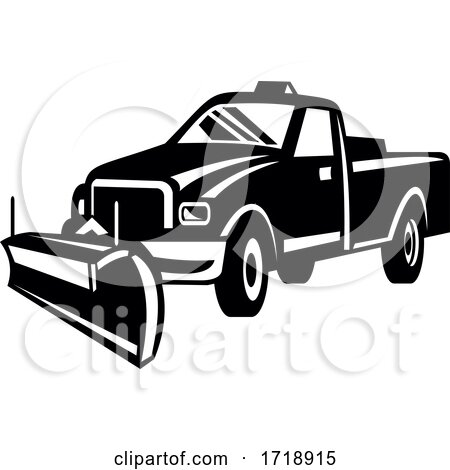 Snow Plow Pick Up Truck Retro Side View Black and White by patrimonio