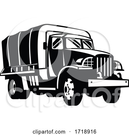Military Truck Military Vehicle Personnel Transport Retro Woodcut Black and White by patrimonio