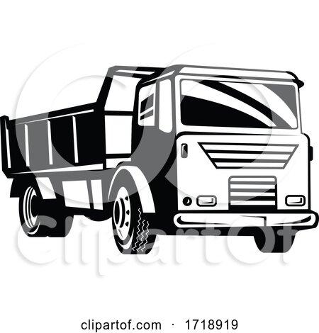 Dumper Truck Dump Truck or Tipper Truck Retro Woodcut Black and White by patrimonio