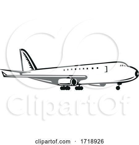 Commercial Jumbo Jet Plane Airliner Landing Side Retro Black and White by patrimonio