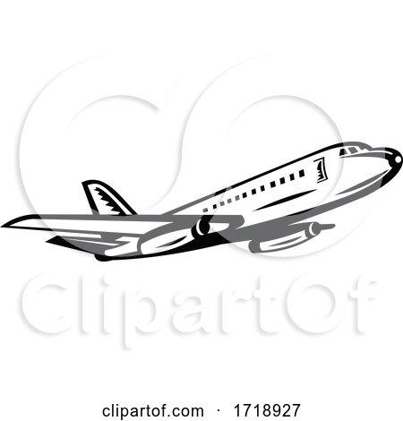 Jumbo Passenger Jet Airliner Taking off Side Retro Black and White by patrimonio
