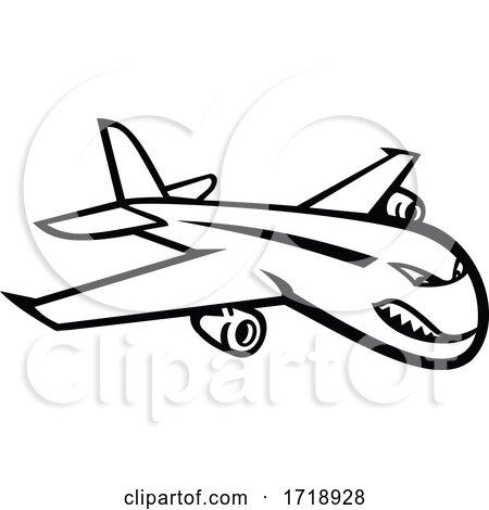 Angry Jumbo Jet Plane Flying Mascot Black and White by patrimonio