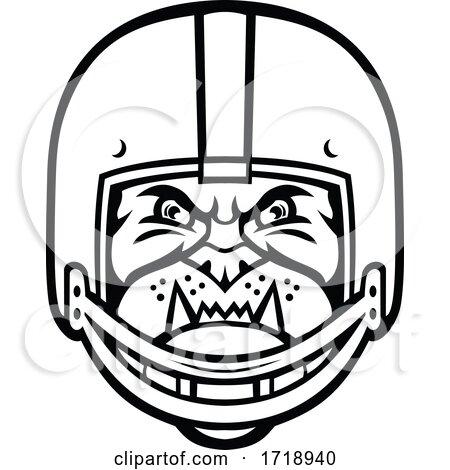 Bulldog Wearing American Football Helmet Front View Mascot Black and White by patrimonio